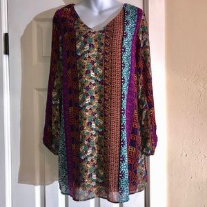 Intu Sheer Split Sleeve Tribal/Floral Tunic-XL